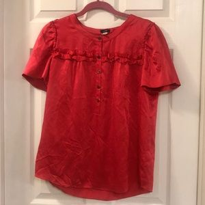 J. Crew Red Silk Blouse Top Size 8